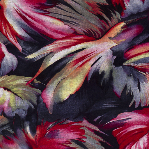 Viscose Discharge Jersey Fabric Flowers Fuchsia