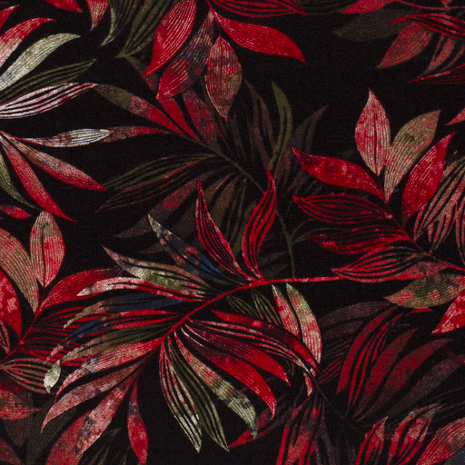 Poly Viscose Stretch Fabric Discharge Printed Plants Black