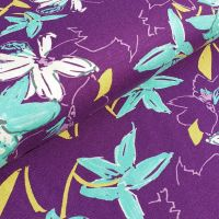 Viscose Jersey Fabric Purple/Mint Flowers