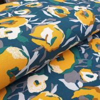 Viscose Jersey Fabric Flowers Green/Mustard