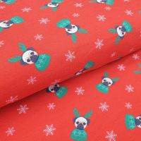 Christmas French Terry Fabric Reindeer Dogs Red