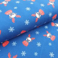 Christmas French Terry Fabric Reindeer Dogs Navy