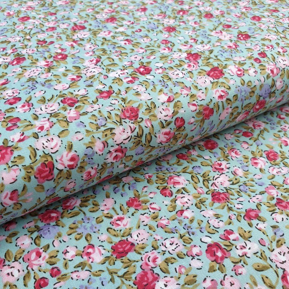 Cotton Fabric Mini Flowers Spearmint