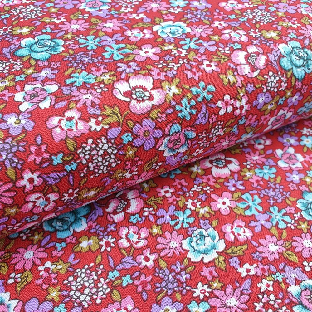 Cotton Fabric Flowers Red