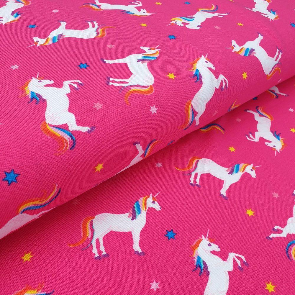 Cotton Jersey Fabric Unicorns Pink