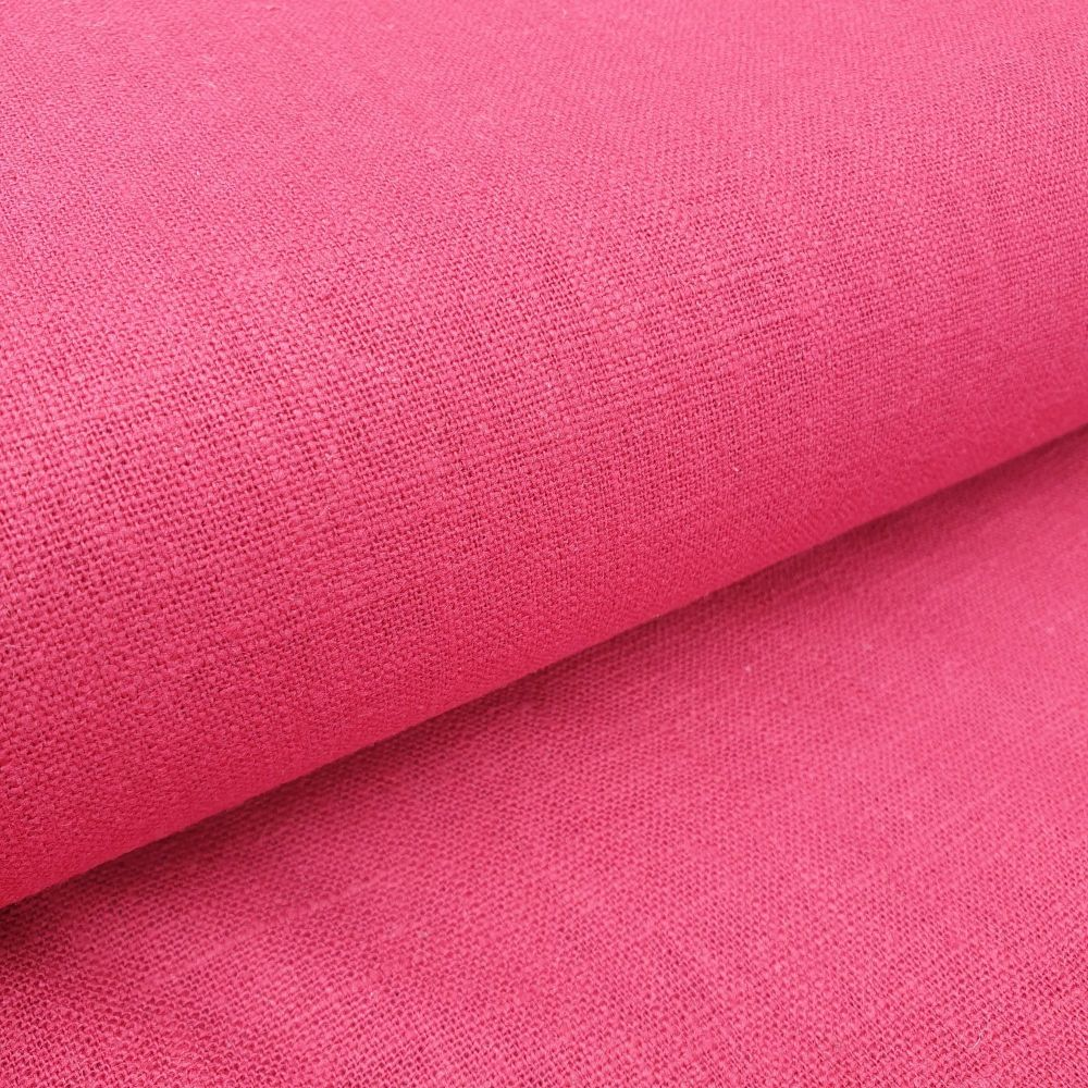 Linen Fabric Raspberry Red