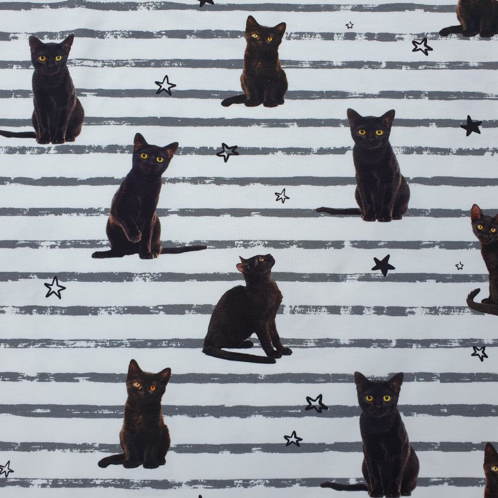 Cotton Jersey Fabric Black Cat