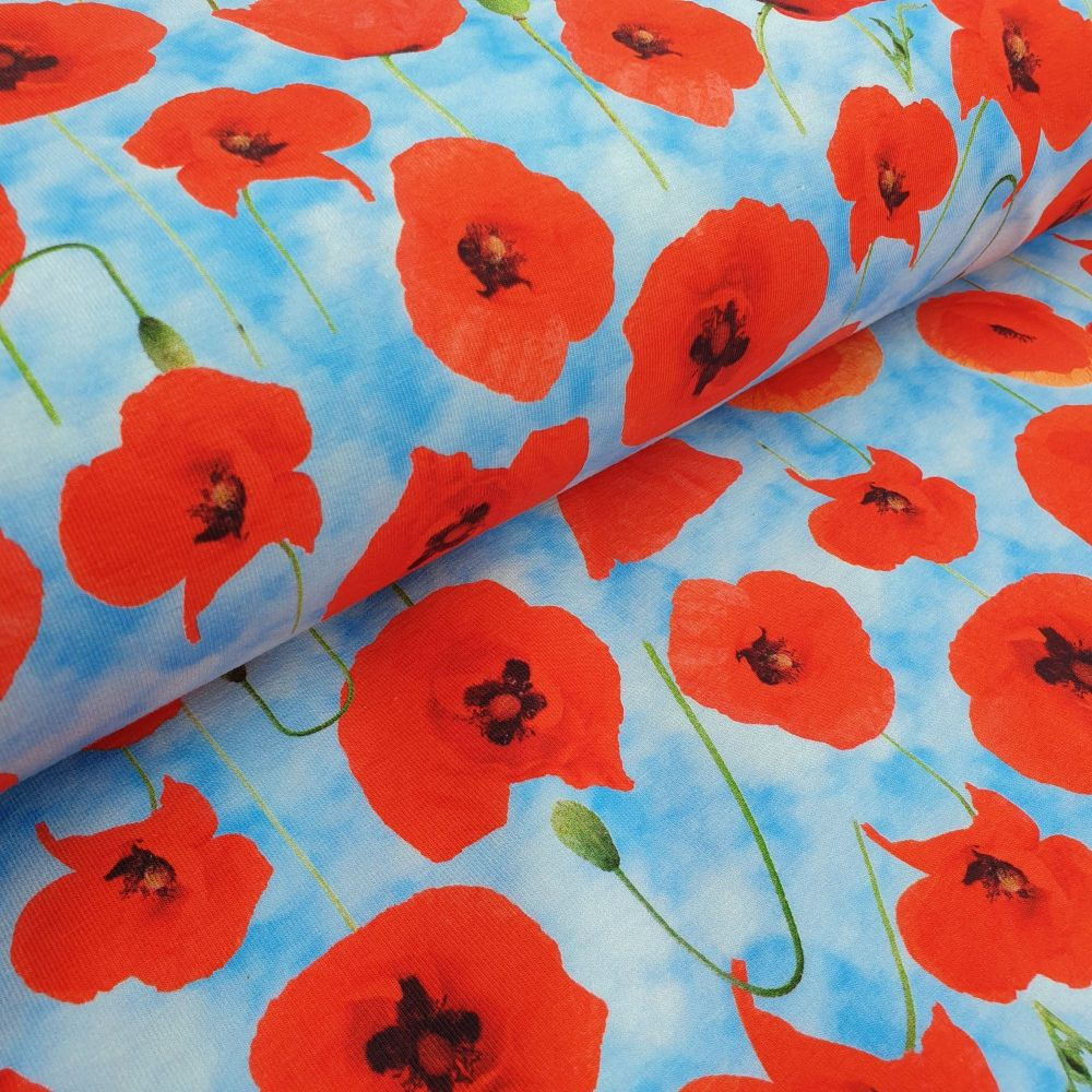 Cotton Jersey Fabric Poppies