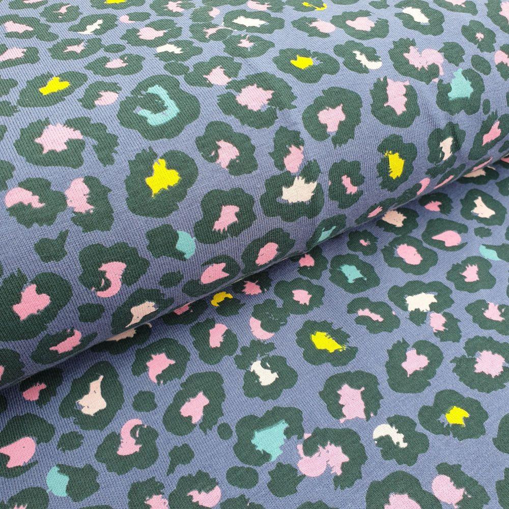 Cotton Jersey Fabric Leopard Print Denim Blue