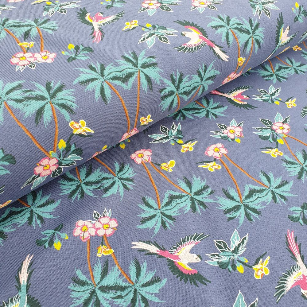 Cotton Jersey Fabric Tropical Denim Blue