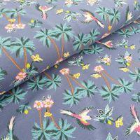 Cotton Jersey Fabric Tropical Denim Blue