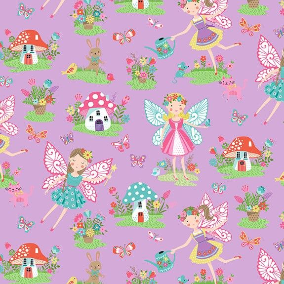 Makower Daydream Cotton Fabric Fairies Lilac