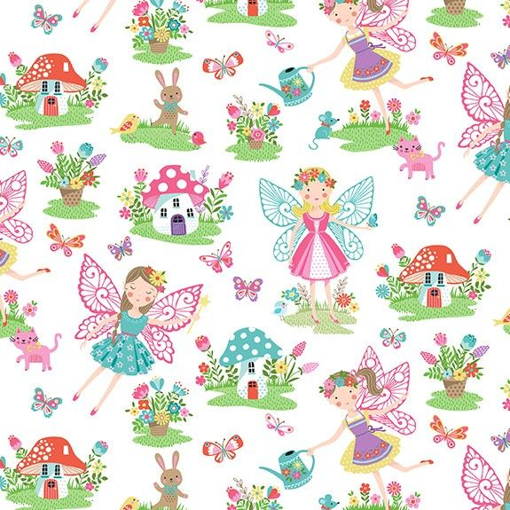 Makower Daydream Cotton Fabric Fairies White