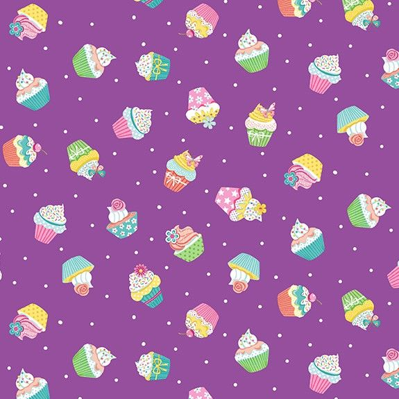 Makower Daydream Cotton Fabric Cupcakes Lilac