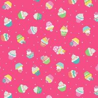 Makower Daydream Cotton Fabric Cupcakes Pink