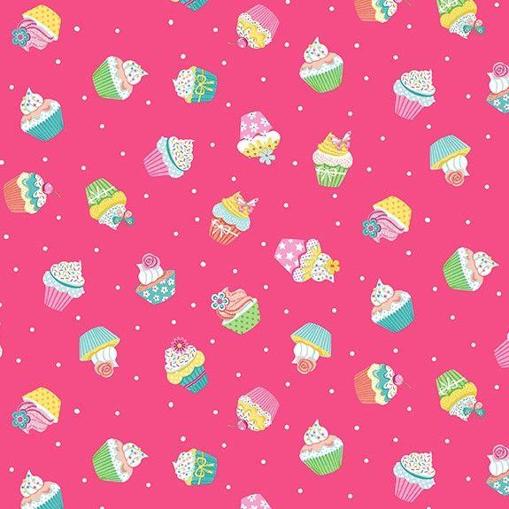 Makower Daydream Cotton Fabric Cupcakes Pink