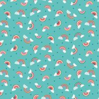 Makower Daydream Cotton Fabric Rainbow Turquoise