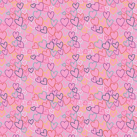 Makower Daydream Cotton Fabric Hearts Pink