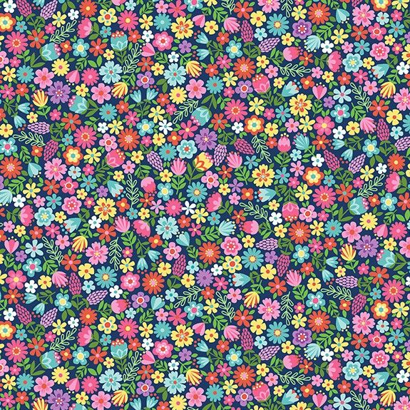 Makower Daydream Cotton Fabric Floral Blue
