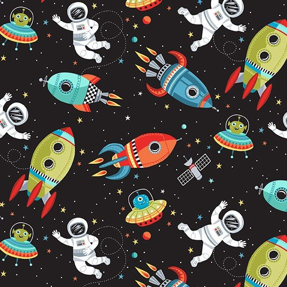 Makower Space Cotton Fabric Space Scene Black