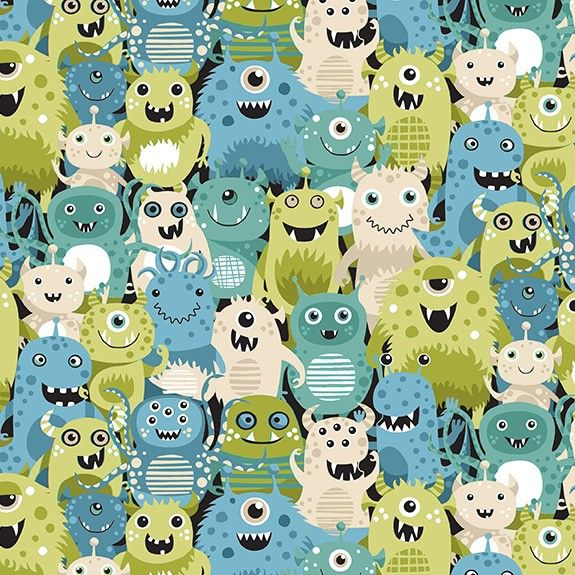 Makower Space Cotton Fabric Space Aliens Green