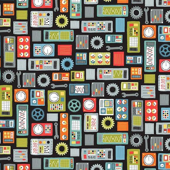 Makower Space Cotton Fabric Space Dials Black