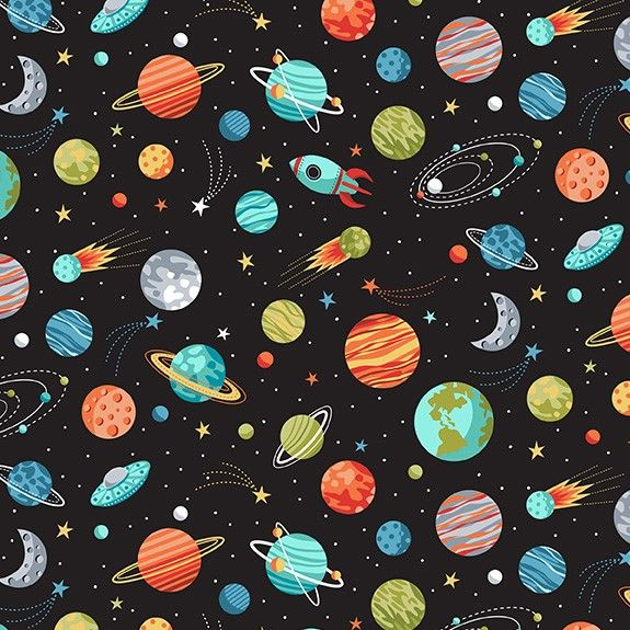 Makower Space Cotton Fabric Space Planets Black