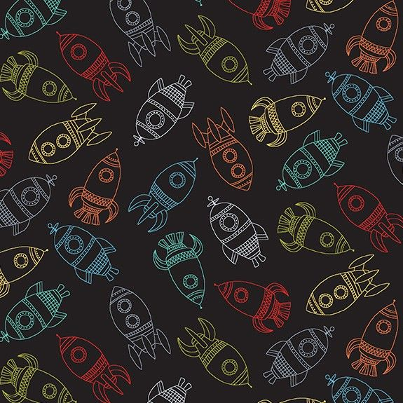 Makower Space Cotton Fabric Space Rockets Black