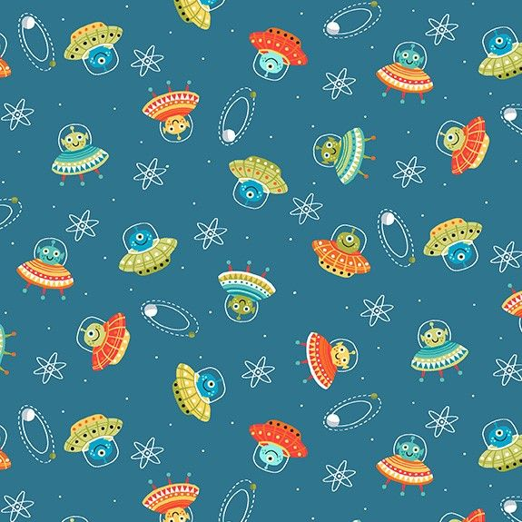 Makower Space Cotton Fabric Space Scatter Blue