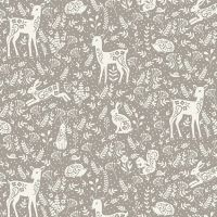 Makower Cotton Fabric Clara Animals Grey