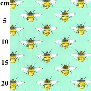 Cotton Poplin Fabric Bees Navy