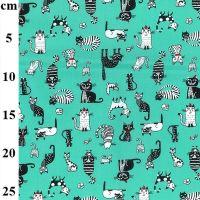 Cotton Poplin Fabric Cats