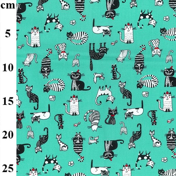 Cotton Poplin Fabric Cats