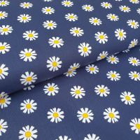 Cotton Poplin Daisy Flower Navy