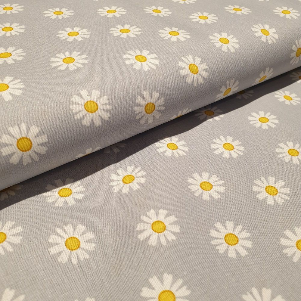 Cotton Poplin Daisy Flower Grey