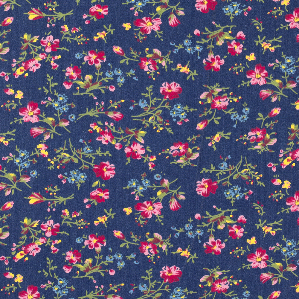 Stretch Floral Denim Fabric