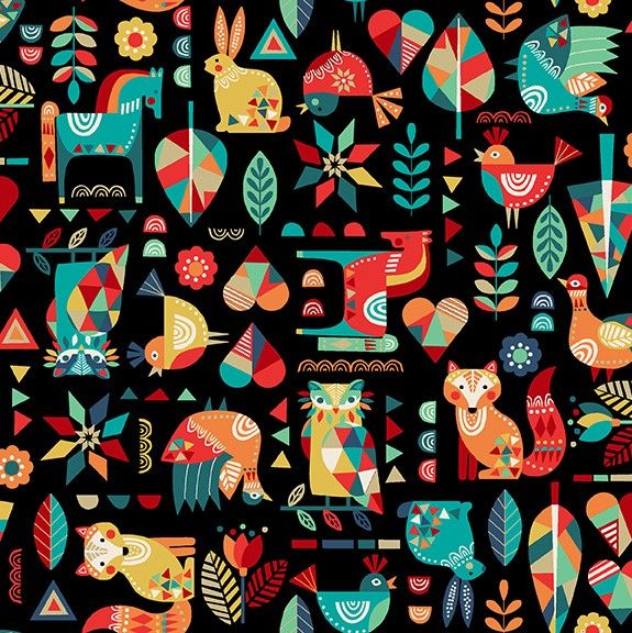 Makower Folk Friends Cotton Fabric Animals Black