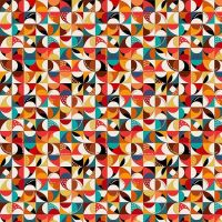 Makower Folk Friends Cotton Fabric Mosaic Cream