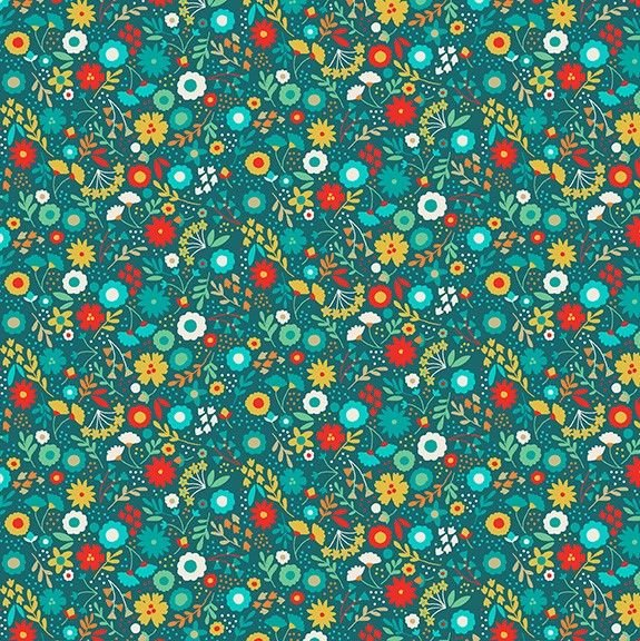 Makower Folk Friends Cotton Fabric Floral Turquoise