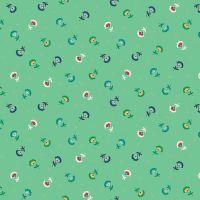 Makower Folk Friends Cotton Fabric Sprig Turquiose