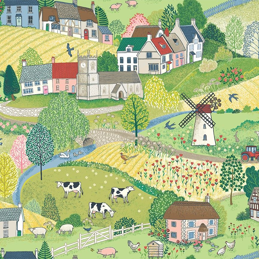 Makower Village Life Cotton Fabric Scenic