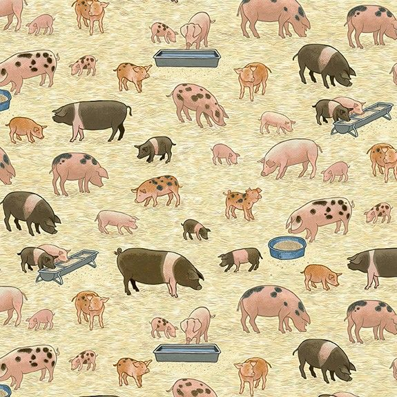 Makower Village Life Cotton Fabric Pigs