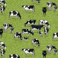 Makower Village Life Cotton Fabric Cows