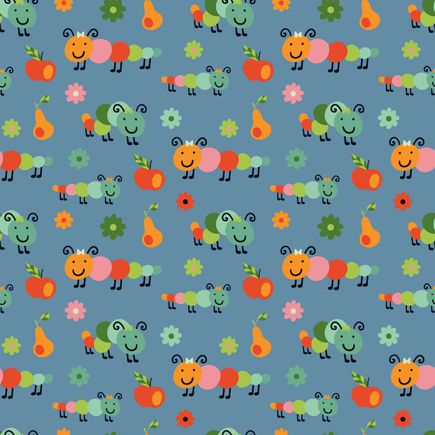 Cotton Poplin Fabric Caterpillar Indigo