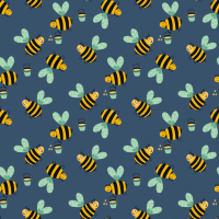 Cotton Poplin Fabric Bees Indigo