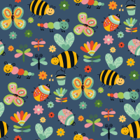 Cotton Poplin Fabric Bugs & Bees