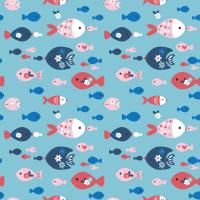 Cotton Poplin Fabric Nautical Fish