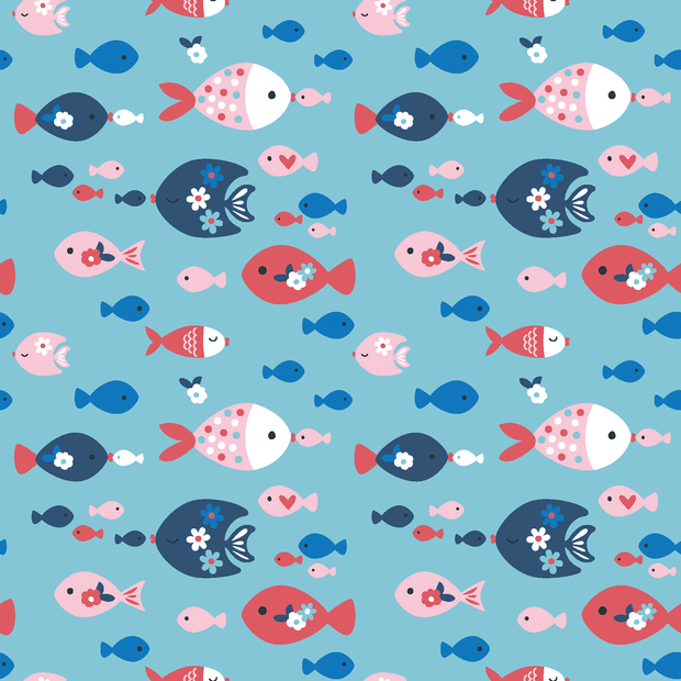 Cotton Poplin Fabric Nautical Fish