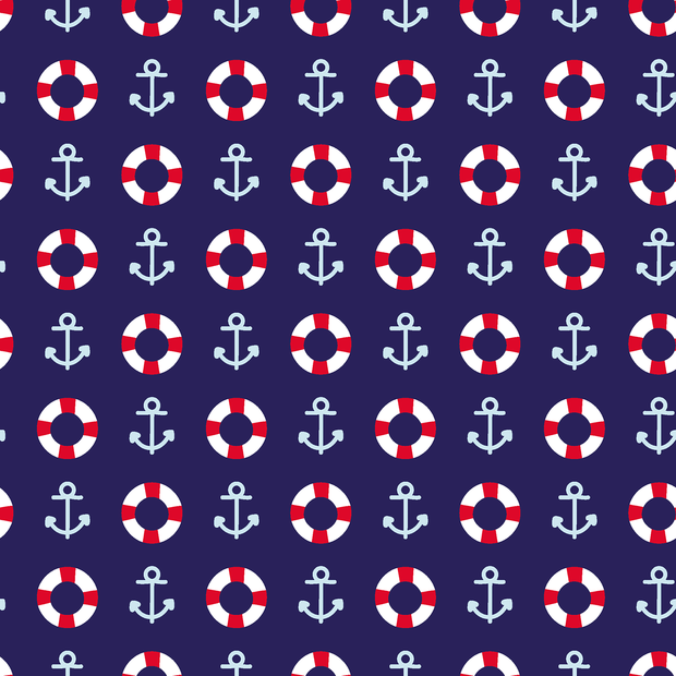 Cotton Poplin Fabric Nautical Lifebuoy