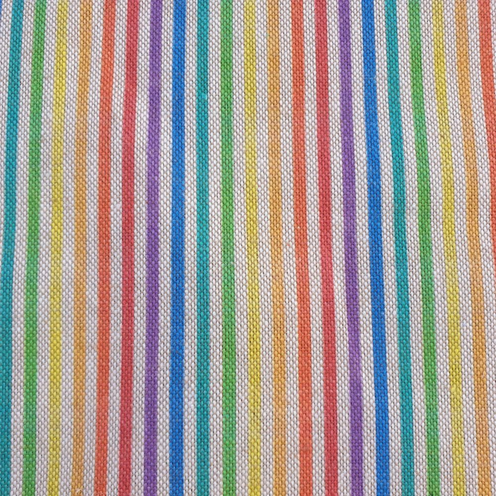 Pop Art Cotton Linen Look Fabric Rainbow Stripes